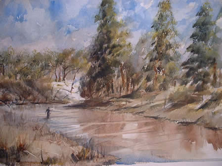 Ross on the river a watercolur painting by Ian Potts artist