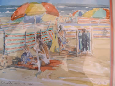A watercolour painting on the beach by artist Ian Potts eon-art.co.uk