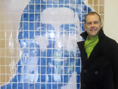 BBC's Jeff Brown unveils the Eon-Arts art installation by Ian Potts