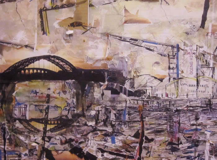 Eon-Arts, artist Ian Potts, a mixed media and collage work featuring the Wearmouth Bridge by artist Ian Potts