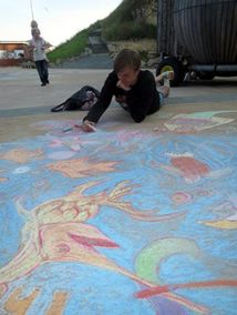 Cultural Spring's David Callaghan at the Eon-Arts CHALK IN at Roker